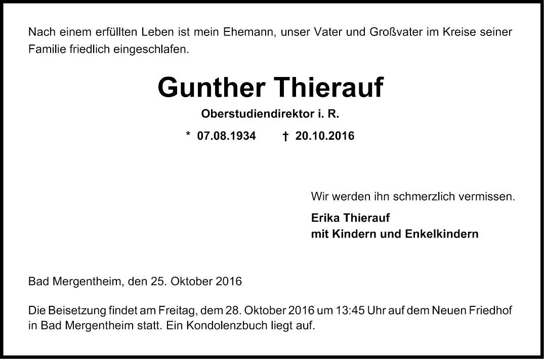 Traueranzeige Gunther Thierauf